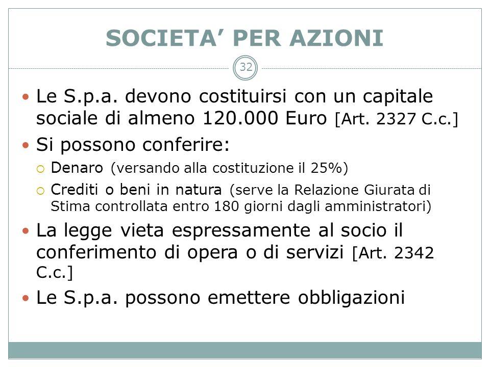 SOCIETA' PER AZIONILe S.p.a. devono costituirsi con un capitale sociale di almeno 120.000 Euro [Art. 2327 C.c.]